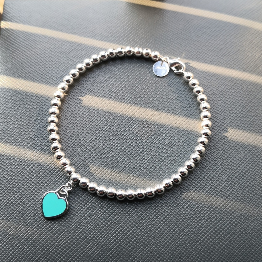Ms S925 pure silver enamel classic heart-shaped tags 4 m bead bracelet with America and Europe pop woman holiday gifts