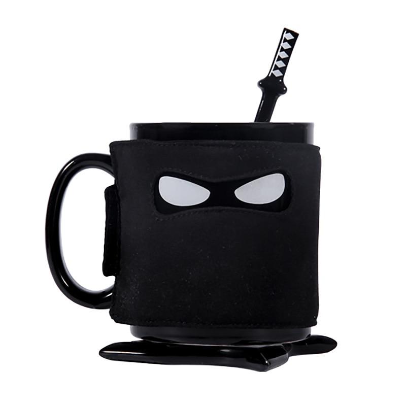 UK thumbs up taza Ninja con posavasos cuchara de mezcla taza de café cubierta de vaso aislante de calor extraíble
