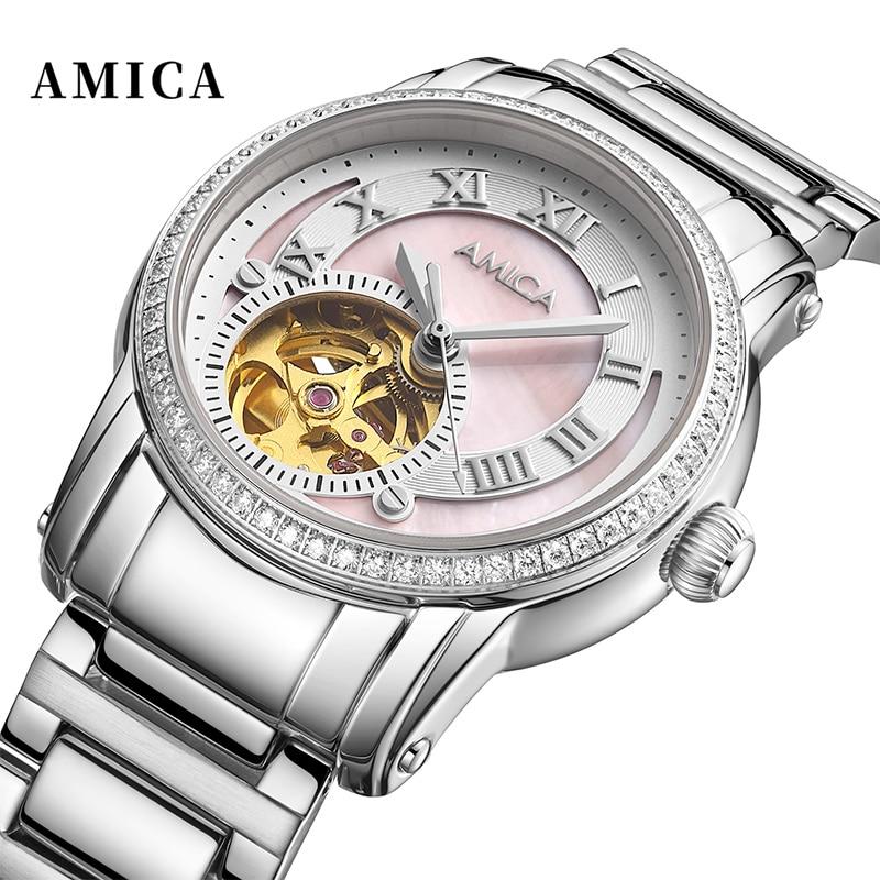 Amica Fashion Womens Watches Luxury Silver Clock Mechanics Female Stainless Steel Waterproof Wrist Watch Female Clock