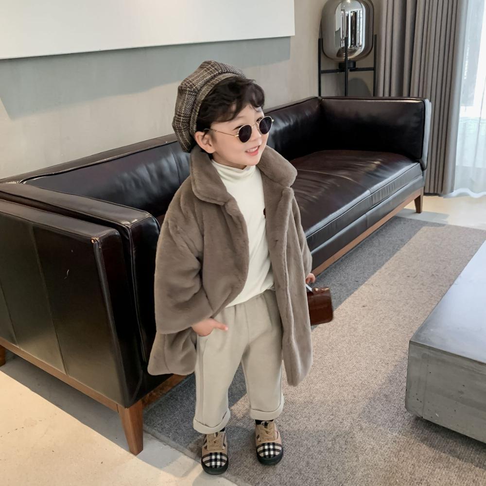 Детская куртка, новинка зимы 2020, меховое пальто средней длины для мальчиков и девочек, однобортное плотное Детское пальто-3