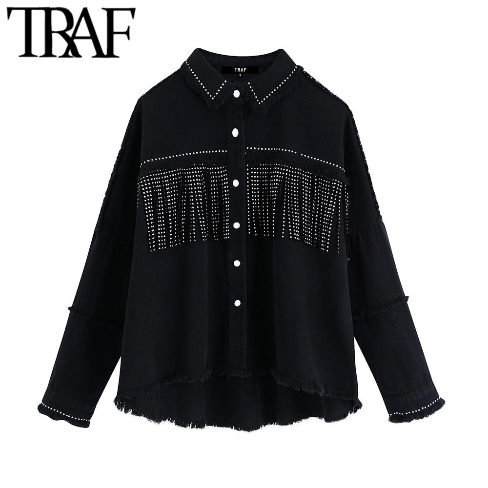 TRAF-جاكيت دنيم نسائي بأكمام طويلة ، ملابس خارجية أنيقة وكبيرة الحجم مع شرابات وخرز ، طراز عتيق