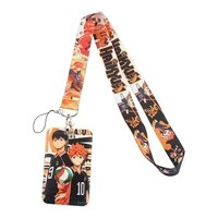 fd0247 anime haikyuu office card set mobile phone belt keychain cheetah badge camera usb keychain lanyard cute