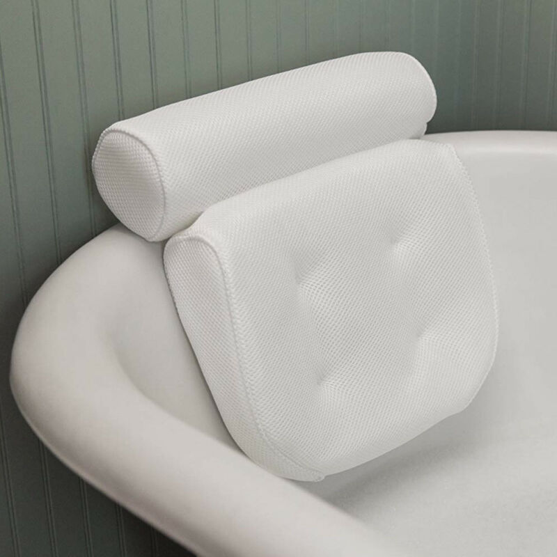 Tina de baño Spa almohada cojín 3D malla Spa antideslizante acolchado bañera almohada para descansar la cabeza con ventosas cuello espalda hombro soporte