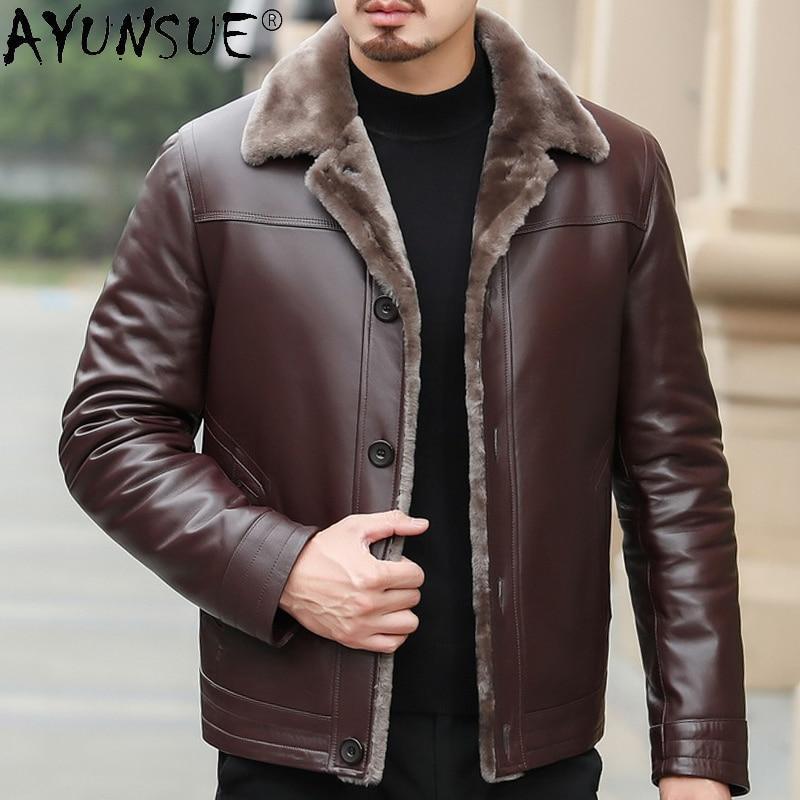 Azazel Genuine Leather Jacket Men Clothing Thick Jackets Winter Coat Sheepskn Real Wool Clothes Chaqueta Cuero Hombre LXR368