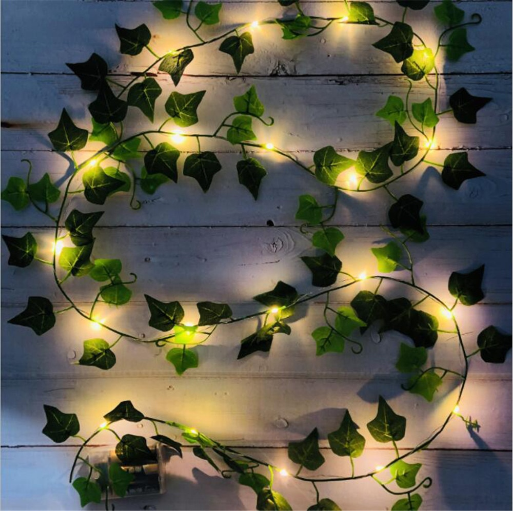 AliExpress - 2M/3M/4M Artificial Plant Led String Light Creeper Green Leaf Vine Garland For Christmas Wedding Party Holiday Decorative Lights