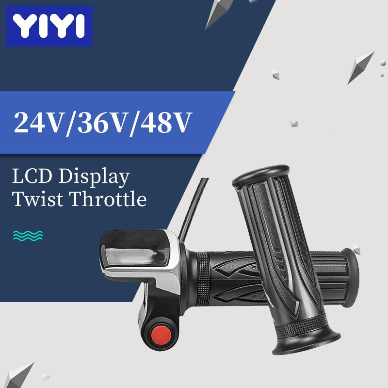 24V 36V 48V LCD Display Twist Throttle Electric Scooter Bike Speed Control With Button Switch Battery Display Indicator Throttle