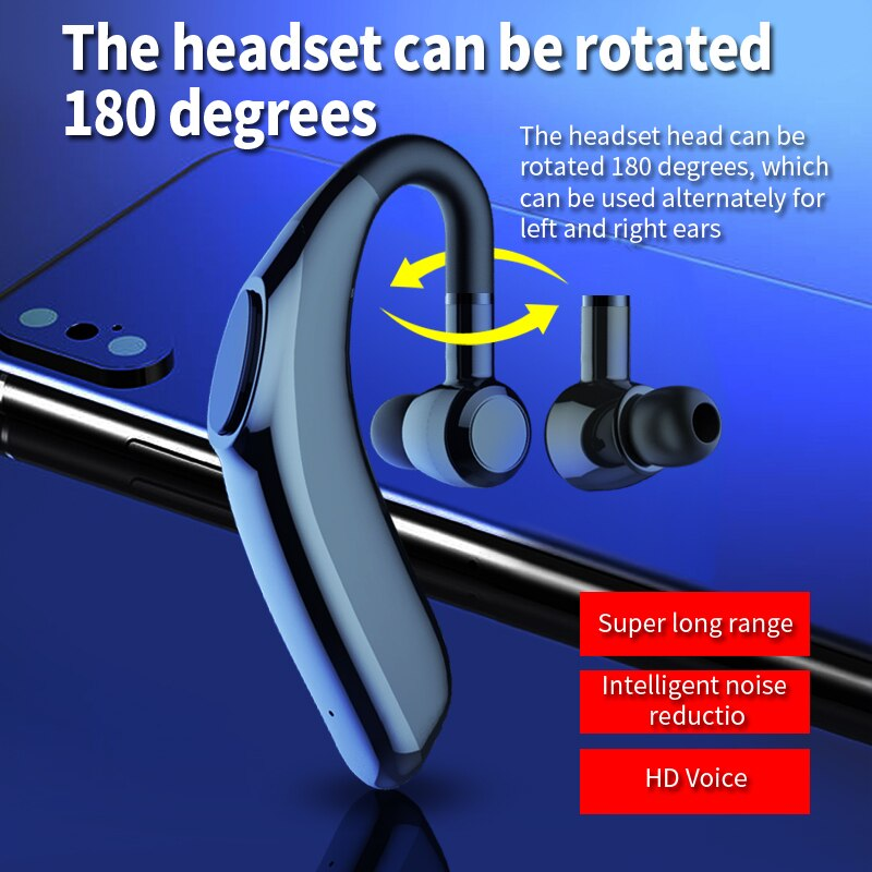 2021 V.5.0 Bluetooth Earphone Long Battery Life Hanging Ear Business Bluetooth Headset For Xiaomi Android enlarge