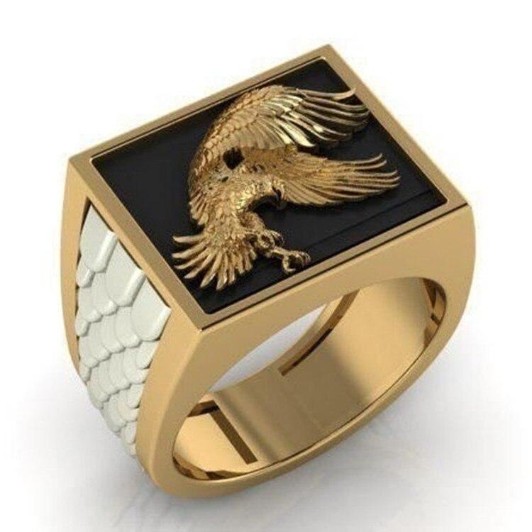 NPKDS anillo de Águila en vuelo Punk exquisito de Arte Moderno Vintage para hombre, anillo de águila con relieve elevado, joyería de Hip Hop