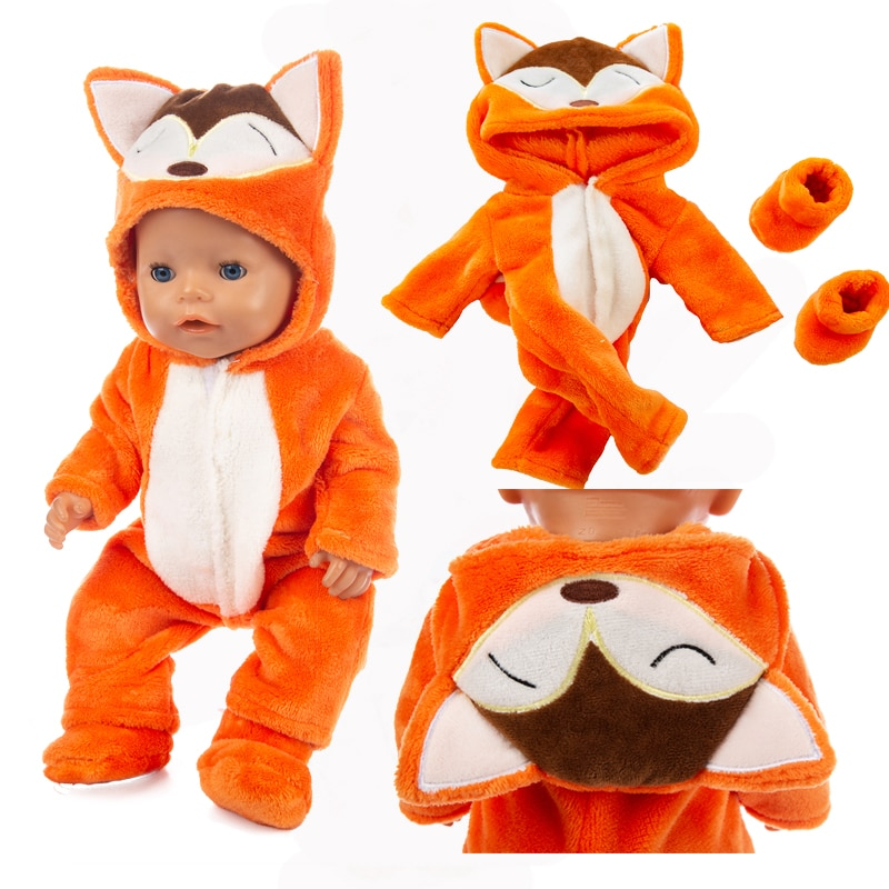 Animal suit+shoes Suit Doll Clothes Baby New born Fit 17 inch 43cm Doll Accessories For Baby Gift недорого
