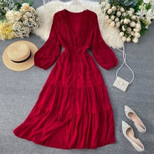 2020 new fashion women's spring clothing Autumn V-neck Long sleeve lace dress winter long dress