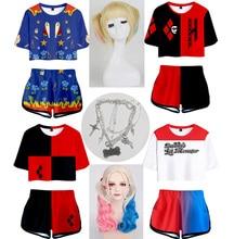 2020 kuş Prey Cosplay kostüm giysi Harley Quinn gömlek şort spor takım elbise kız T Shirt Disfraz T-shirt Tees kadın