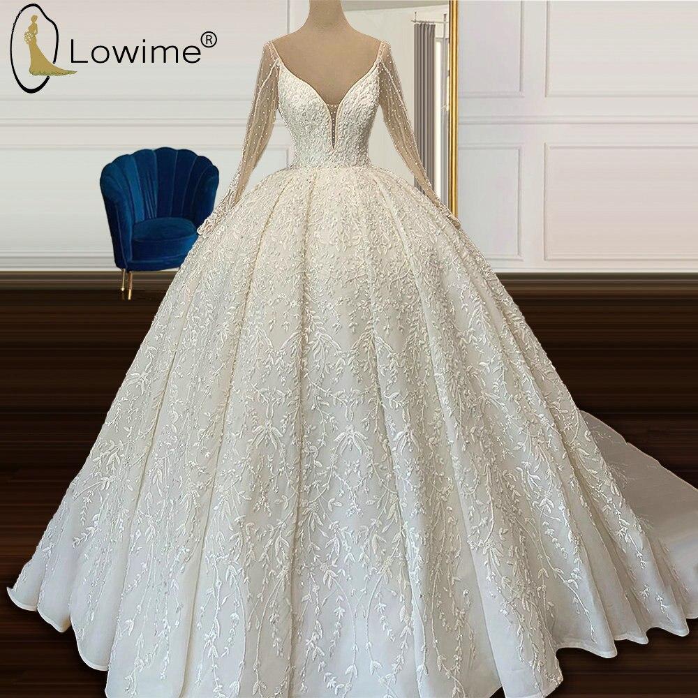فساتين زفاف فاخرة طويلة الأكمام Ruched 2020 مثير عميق الخامس الرقبة زين الخرز الكرة ثوب زي العرائس مخصص