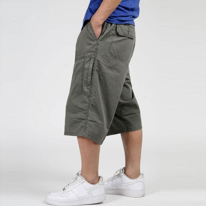 Pantalones holgados de estilo militar de verano 2020 para hombre, pantalones Cargo de algodón hasta la pantorrilla 3/4, pantalones casuales sueltos, pantalones para hombre de talla grande XL-6X