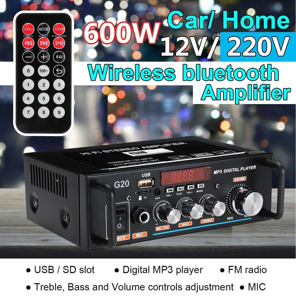 aliexpress.com - 600W Bluetooth Amplifier 110V-220V 2CH HIFI Audio Stereo Power AMP USB FM Radio Car Home Theater with Remote Control