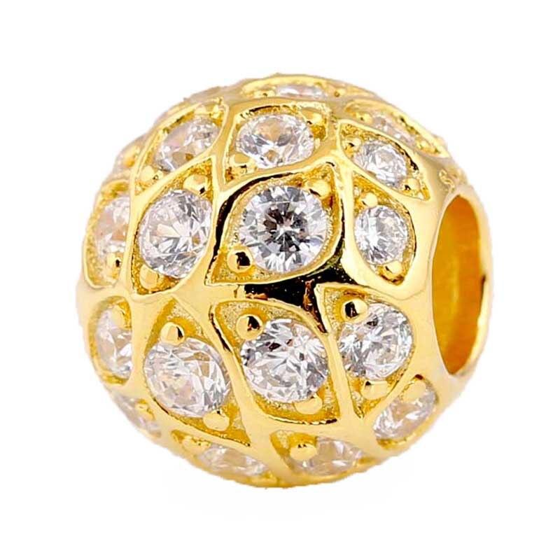 Nuevo cuenta en plata esterlina 925 Charm Shine sparkle leaf patrón con cuentas de cristal para mujer Pandora pulsera brazalete joyería Diy