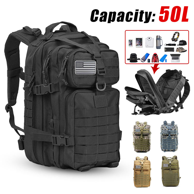 Rucsac tactic militar militar de 50l pentru bărbați de mare capacitate 3P rucsac impermeabil pentru spate, drumeții, camping și genți de vânătoare