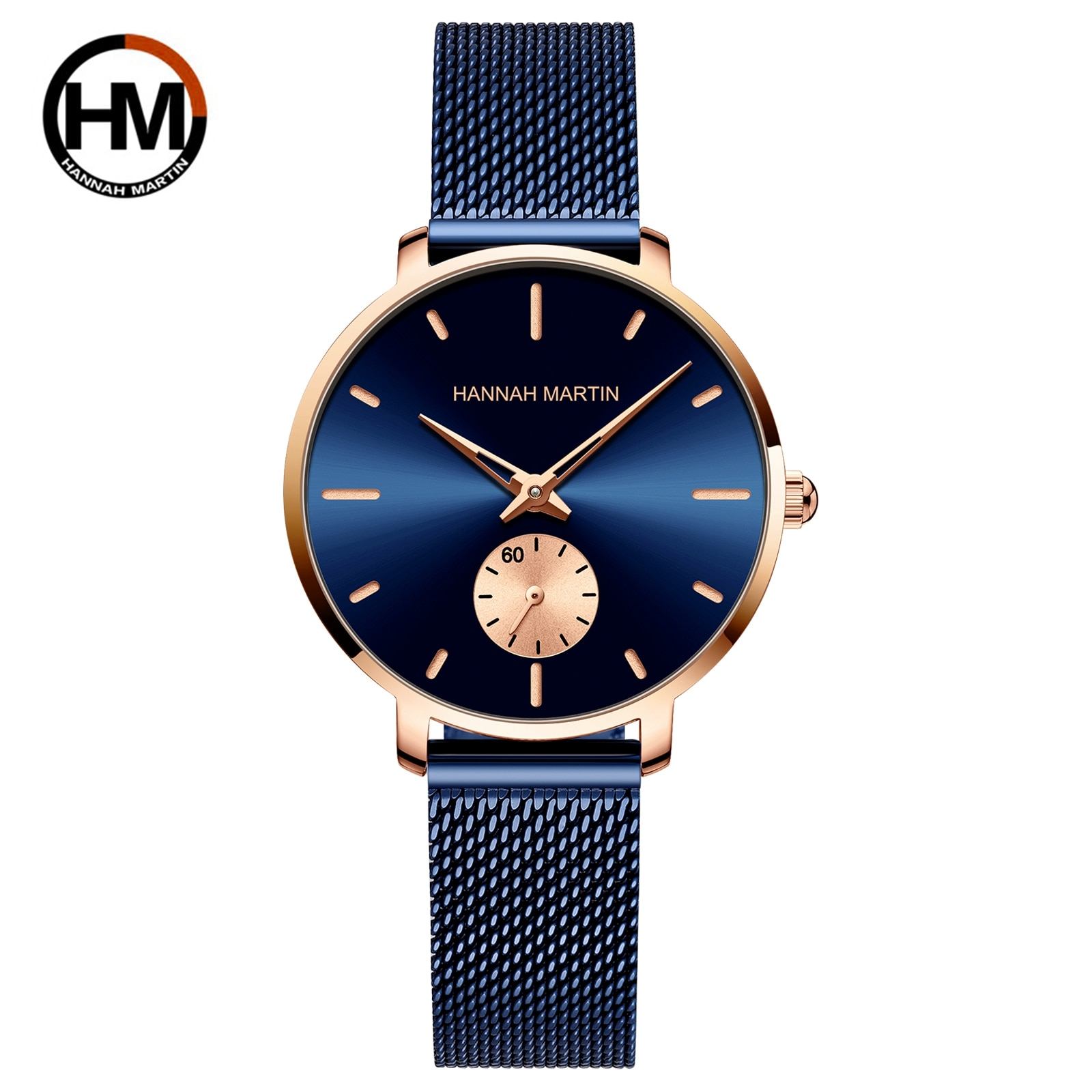 2021New Simple Fashion Ladies Watch Blue Stainless Steel Mesh Belt Small Second Hand RoseGold Case Quartz Waterproof Women Watch rosenthal classic watch collection часы наручные asymetria rosegold white metal