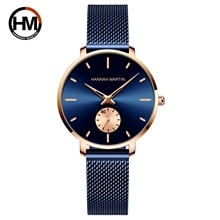 2021New Simple Fashion Ladies Watch Blue Stainless Steel Mesh Belt Small Second Hand RoseGold Case Q