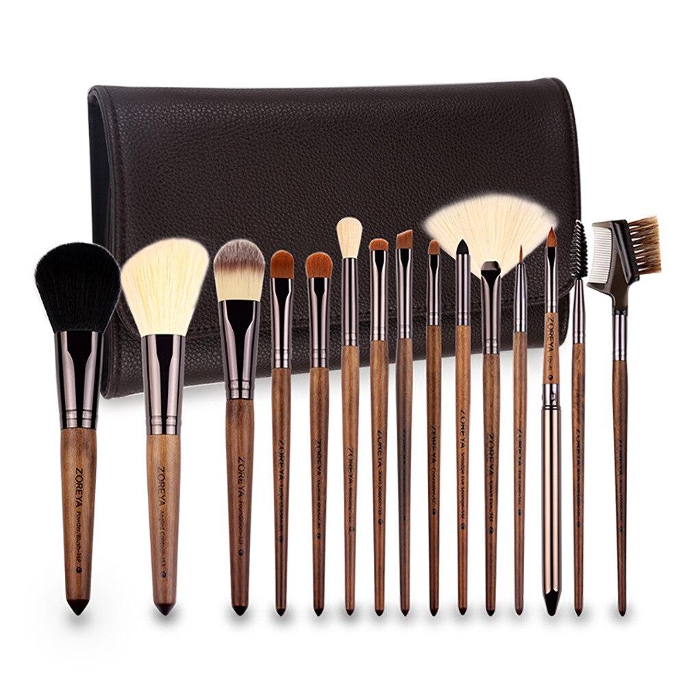 ZOREYA Currently Available 15 Makeup Brush Set Black Walnut Wooden Handle Nylon Wool Makeup Set Cosmetic Gift for Women ZP15