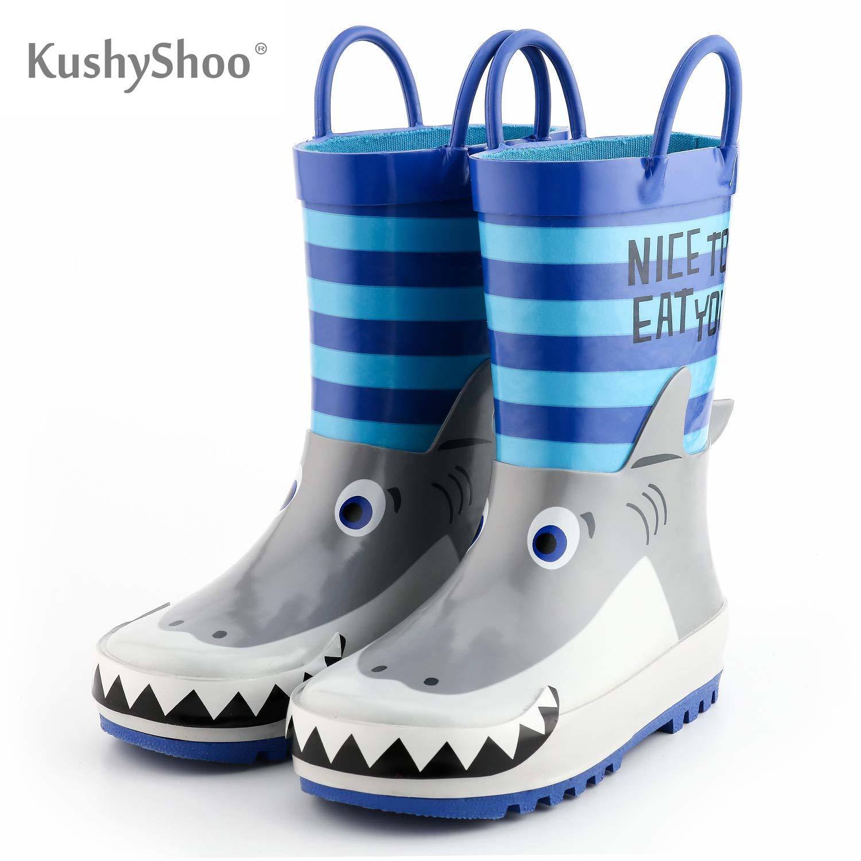 KushyShoo Rain Boots Kids Waterproof Children's Rubber Boots 3D Cartoon Shark Printed Toddler Boy Ra