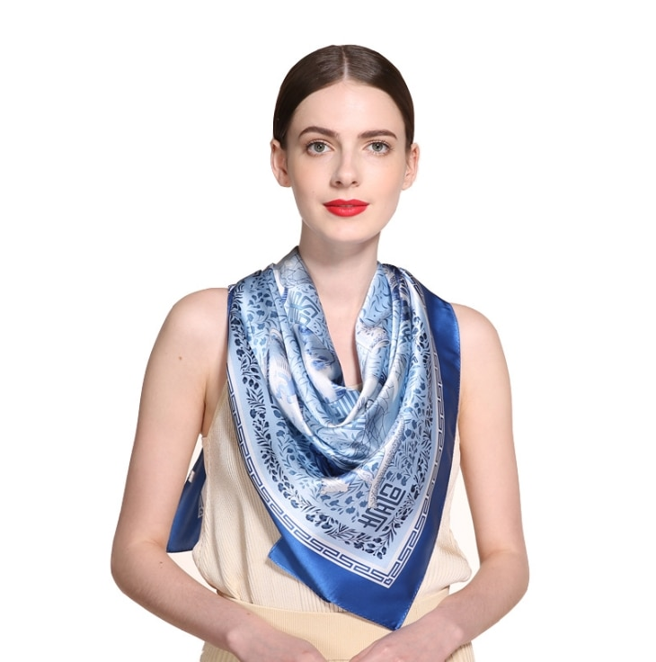 Chinese style blue and white porcelain Lady Plain Blue Mulberry gift silk scarves pure