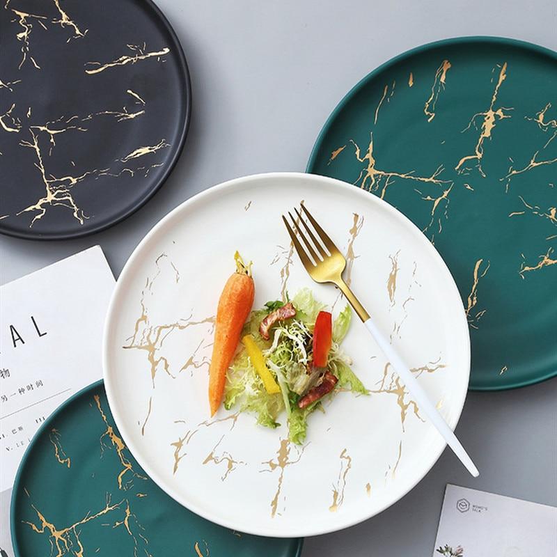 Nordic Creative Matte White Black Green Glaze Gold Edge Disc Marble Ceramic Plate Household Microwave Restaurant Dinner Plates
