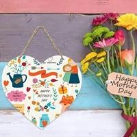 Plaque en bois multicolore pour la fete des meres  faite a la main  en forme de coeur  porte  decoration murale nordique douce  cadeau  2021