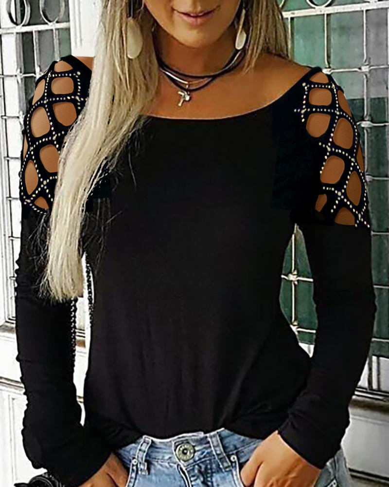 Фото - Studded Cutout Long Sleeve Casual Top Cold Shoulder T-Shirt Women Solid Color Top Cold Shoulder Cutout Sleeve bell sleeve cold shoulder lace panel dress