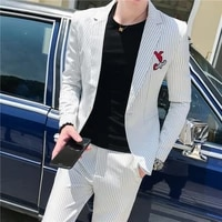 business men suit classic simple striped suits for men fashion embroidery slim fit formal wear suits with pants 3xl