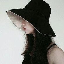 2020 femmes crème solaire chapeaux gothique pêcheur chapeau été coréen Style japonais casquette solide rouge Double Face visage chapeau voyage soleil chapeau