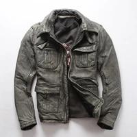 leather mens genuine jacket retro old fashioned first layer cowhide jacket multi pocket motorcycle jacket mens jacket
