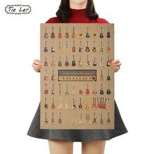 TIE LER Guitar World Vintage Poster Vintage papel tapiz pared pegatinas decoración del hogar