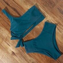 New Solid Bikini 2020 Sexy Swimsuit Brazilian Thong One Shoulder Swimwear Hot Bathing Suit Leopard Biquini High Waist Beachwear