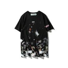 Classic HOT OFF-WHITE Starry fireworks print round neck sweatshirt streetwear Hip Hop mens women off white t-shirt