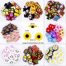 50 pçs verão tamancos sandálias ornamentos picolés varinha mágica nuvens flores coloridas donuts pizza sushi sapatos bonitos botão