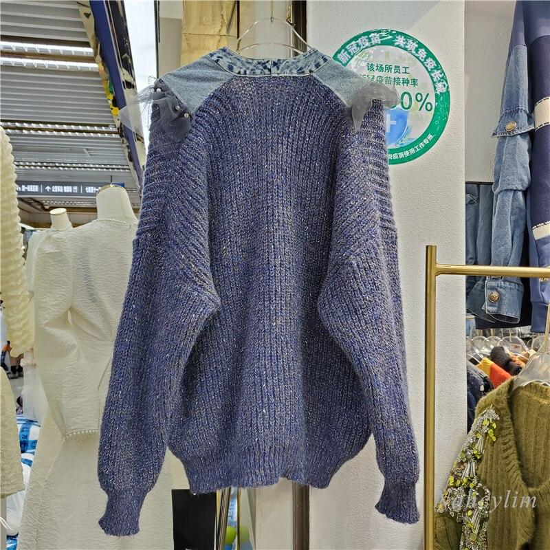 Harajuku Cardigan Women 2021 Autumn New European Loose Beaded Mesh Ruffled Denim V-neck Stitching Knitted Coat Loose Streetwear enlarge