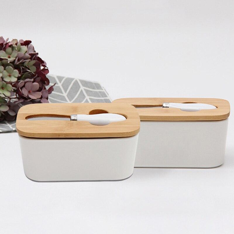 الشمال زبدة ختم صندوق السيراميك زبدة لوحة مع غطاء خشب وسكين الجبن صينية تخزين طبق الزبدة الأبيض حاوية صندوق