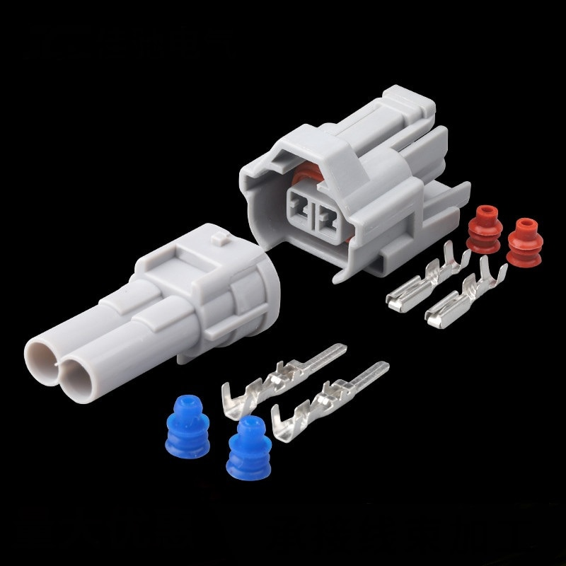 100 conjuntos kit 6189-0060 6180-2405 nippon denso 2 pinos à prova dwaterproof água masculino fêmea injector de combustível conector automático para great wall haval