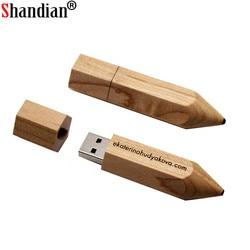 SHANDIAN USB 2,0 деревянный карандаш usb флеш-накопитель Флешка 4 ГБ 16 ГБ 32 ГБ 64 ГБ флеш-накопитель u-диск ручка-накопитель бесплатный логотип на заказ