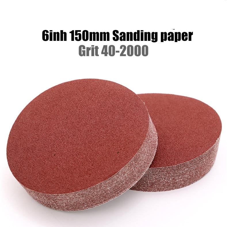 10 vnt. 6 colių 150 mm grūdėtumo 40–2000 šlifavimo popieriaus diskai, kablio kilpos švitrinis popierius apvalus diskas, smėlio lakštas