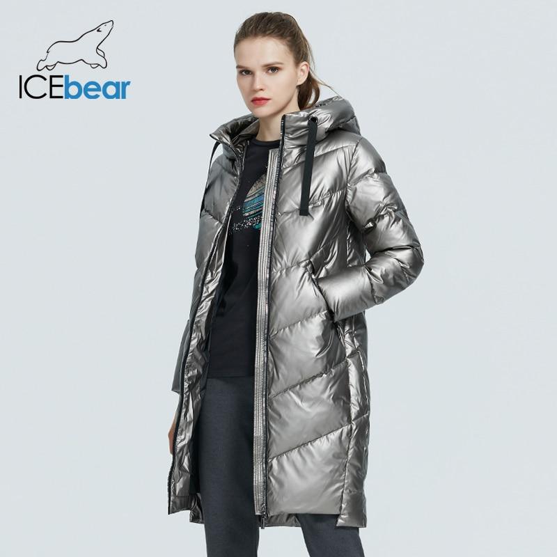 ICEbear 2021 new hooded winter women's  jacket fashion casual slim long warm cotton coat brand ladies parkas GWD20302D