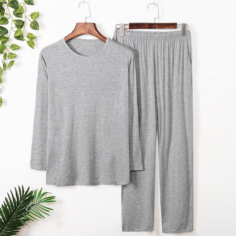 2021 осень одежда модал хлопок мужчины% 27 пижамы комплект длинный рукав большие размеры пижама брюки мужские повседневные с круглым вырезом свободные пижамы для мужчин