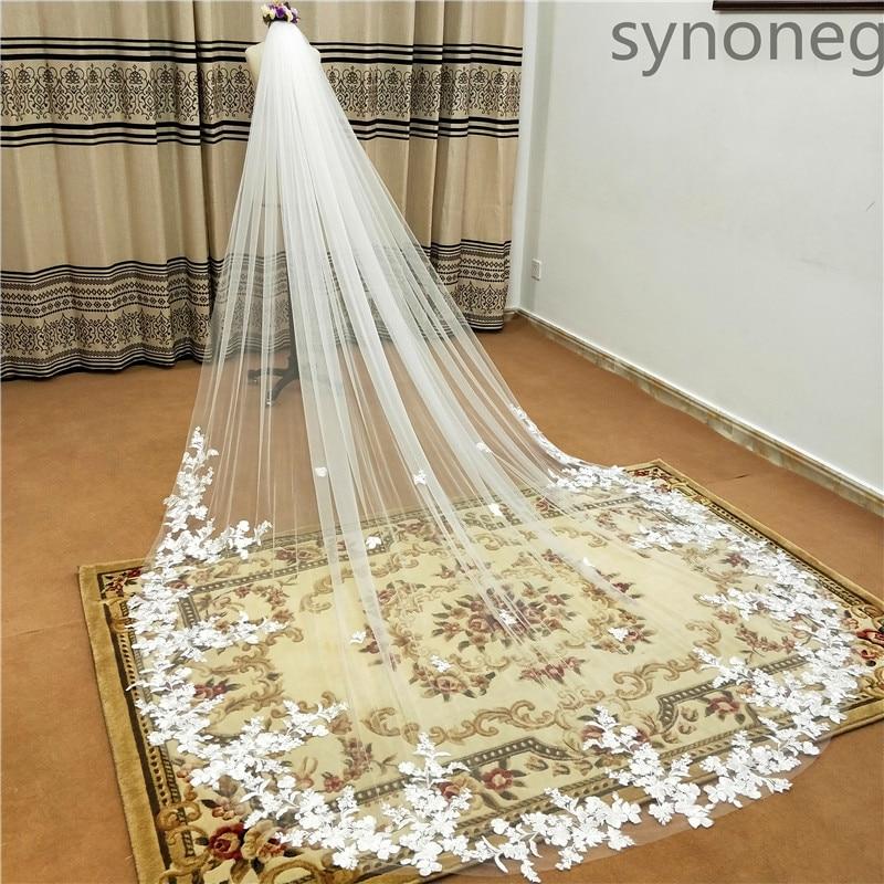 3 metra jednoslojni vjenčani veo s češljem bijeli čipkasti rub - Vjenčanje pribor - Foto 2