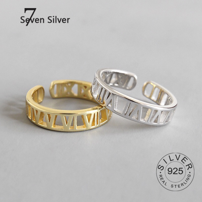 Реальные женские серебряные кольца на палец I IX с вырезами, модные ювелирные изделия, большие Регулируемые Антикварные кольца, кольца