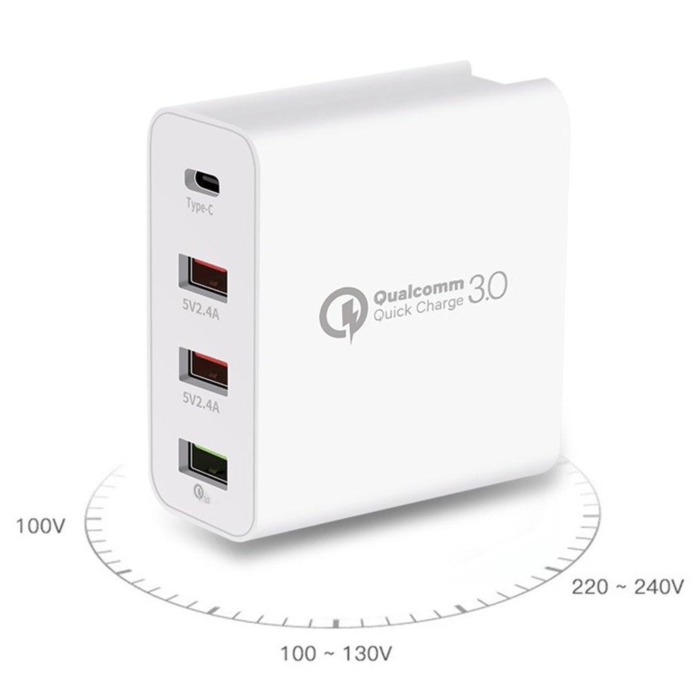 48 w 4-port carregador rápido pd tipo c carregador usb para samsung iphone huawei tablet qc 3.0 carregador de parede rápido eua ue reino unido au plug