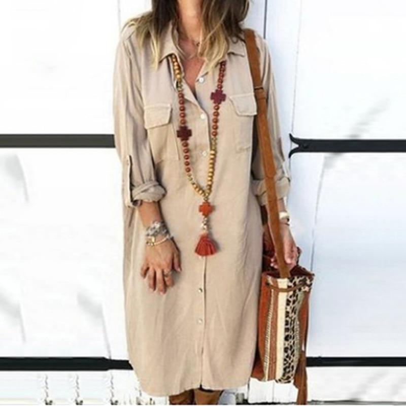 Vestido largo liso de manga larga con bolsillos para mujer, vestido de...