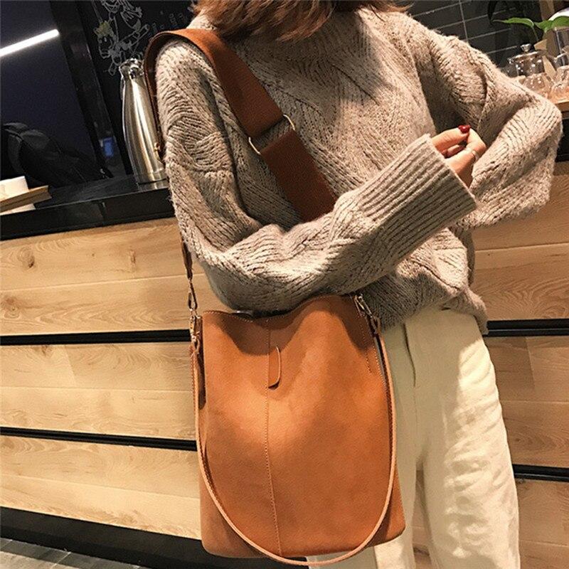 Grande capacidade saco do mensageiro das mulheres balde bolsa de ombro do vintage fosco couro pu senhora bolsa designer luxo bolsos mujer preto