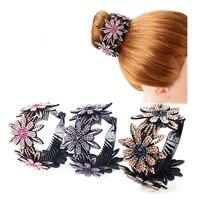 rhinestone hair bun claws holders dazzling hair claw hair decor headwear flower hairpin floral twist clip hair accessories