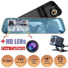 "4.3"" Car Dvr Dash Camera Dash Cam Dual Lens Touch Mirror Digital Video Recorder Monitor Front & Rear Reverse Camera Night Vision"
