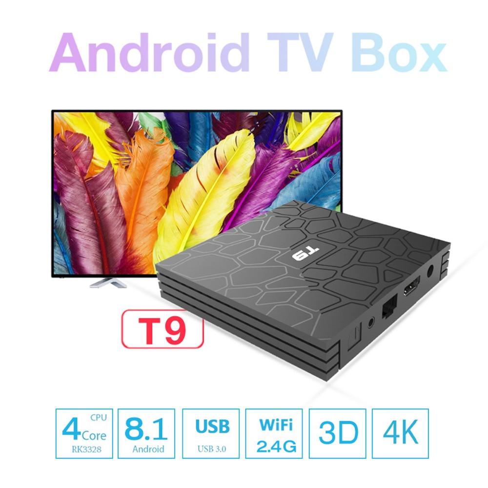 Caixa de TV Mais Novo 4K Android 8.1 RK3328 T9 Quad Core 32 4GB de RAM GB ROM Smart TV Box netflix Media Player Set Top Box com USB 3.0